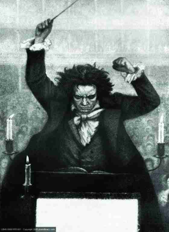 Ludwig van Beethoven conducting with baton - by Katzaroff. German composer